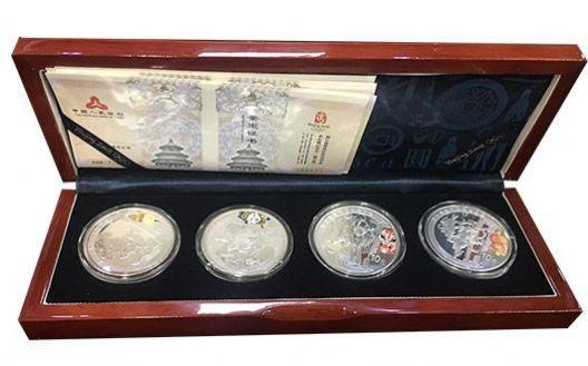 2008年第29届奥林匹克运动会(第三组)1盎司圆形彩色银质纪念币(4枚),团购价1560元!(YM)