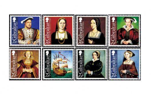 直布罗陀 2009年英国国王亨利八世和他的六位皇后8枚全 全新【Z】