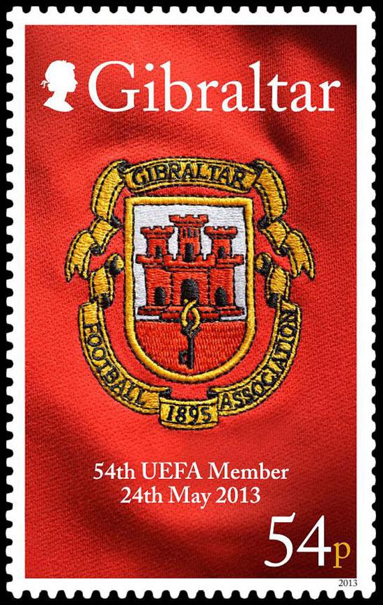直布罗陀5月31日发行 UEFA加入欧洲足联成第54个会员 纪念邮票图片