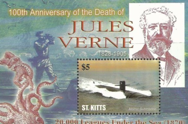 邮票上的凡尔纳与潜水艇