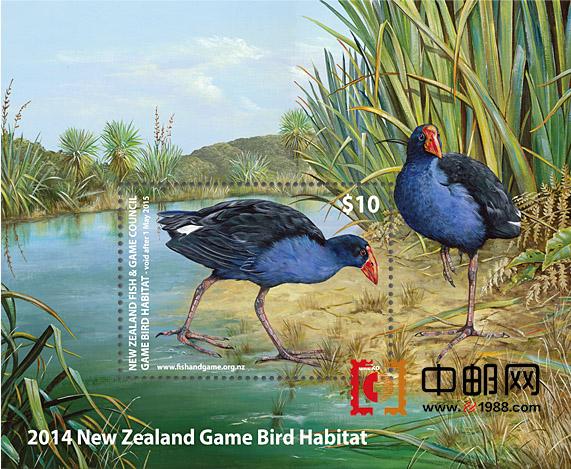 每年的2月2日是世界湿地日。为此,新西兰邮政将发行小型张一枚,邮票主图为紫水鸡查塔姆亚种。该种禽鸟分布于澳大利亚的北部和东部,塔斯马尼亚,新西兰,克马德克群岛和查塔姆群岛,巴布亚新几内亚。 小型张面值10纽币,同时还发行首日封和签名限量版画。首日封售价14纽币,签名限量版画售价65纽币。目前,在新西兰邮政官网上已经开始预订该套邮票。