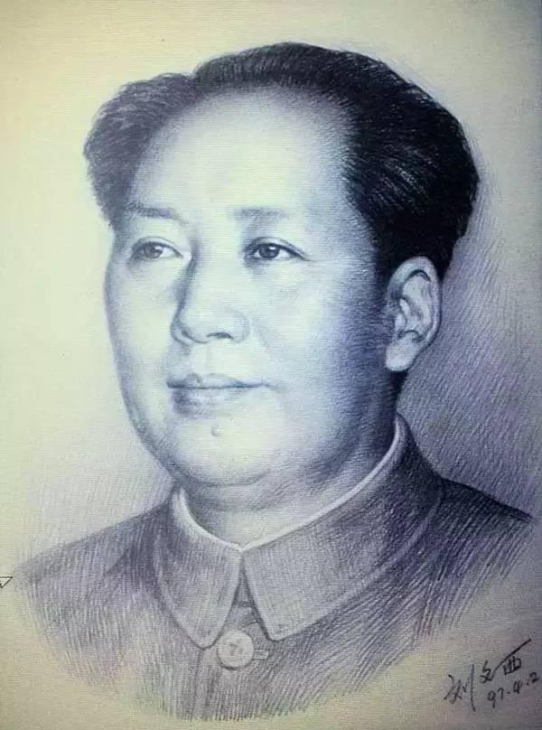 刘文西创作的毛泽东头像素描稿