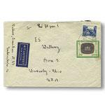 《电视台10周年 邮票日》邮票1枚加贴《共和国风景和历史建筑》邮票1枚 航空实寄封 1枚 (民主德国,欧洲)