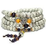 印度星月菩提搭配紫水晶桃花运108颗佛珠手链(8-9mm)