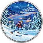 加拿大2017年户外运动(1)夜间滑雪彩色夜光精制银币(需预定)