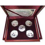LP40112 熊猫银币2013年-2017年五枚豪华套装