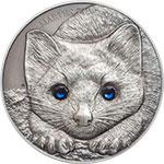 蒙古2017年大自然动物施华洛世奇水晶镶嵌仿古银币(8)黑貂紫貂