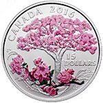 加拿大2016年樱花盛开彩色银币
