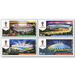 俄罗斯邮票2016年 2018俄罗斯世界杯比赛场馆 四方连 全品