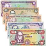 牙买加纸币5枚一套