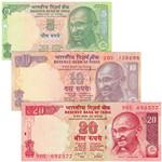 印度纸币3枚一套