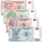 刚果纸币4枚一套