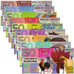 堪培拉50元生肖塑料钞9枚一套