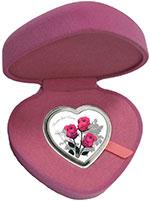 托克劳2017年爱情玫瑰情人节心形彩色精制银币