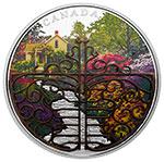 加拿大2017年2盎司花园大门(1)青铜掐丝镶嵌彩色精制银币(需预定)