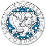 奥地利2017年四大天使长(1)蓝色守护天使米迦勒彩色精制银币