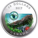 加拿大2017年海底世界(3)海龟艺术玻璃镶嵌彩色精制银币(需预定)