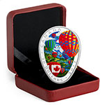 加拿大2017年热气球椭圆蛋形彩色精制银币