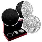 加拿大2017年月相组合透明彩色珐琅镶嵌精制银币3枚套装