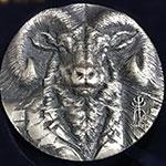 上海造币厂-2015年高浮雕 80mm 羊年生肖大银章(俗称:朱羊)