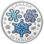 加拿大2018年冬日缤纷晶莹雪花蓝色闪耀珐琅镶嵌精制银币(需预定)