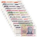 WGZB2829 美洲全新UNC阿根廷13张(1-100万比索)纸币大全套