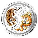 加拿大2018年传统剪纸风格龙虎太极阴阳拼图彩色精制银币(需预定)