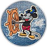 纽埃2017年百变牛仔布(6)迪士尼米老鼠威力船长彩色钌化银币(需预定)