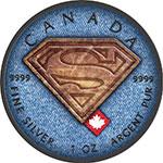 加拿大2017年百变牛仔布(5)真皮超人S盾牌彩色钌化银币(需预定)