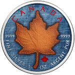 加拿大2017年百变牛仔布(2)真皮枫叶彩色钌化银币(需预定)