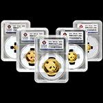 初铸评级币:2018年熊猫普制封装金币套装(5枚独立装)
