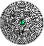 斐济2016年凯尔特艺术镶绿宝石高浮雕3盎仿古银币(需预定)