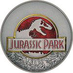 纽埃2018年恐龙电影侏罗纪公园25周年彩色仿古银币 史匹堡