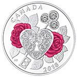 现货:加拿大2018年爱的礼赞(3)玫瑰钥匙心锁水晶镶嵌彩色银币