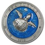 巴巴多斯2018年3盎司海底世界(2)海龟透明珐琅镶嵌仿古银币