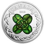 现货:加拿大2018年爱尔兰幸运四叶草凯尔特花结彩色精制银币