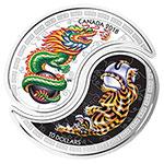 加拿大2018年黑白龙虎太极阴阳拼图彩色精制银币(需预定)