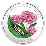 现货:加拿大2018年小生命(3)毛毛虫手工玻璃镶嵌彩色精制银币