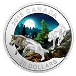 加拿大2018年多边几何艺术动物(1)月下灰狼彩色精制银币(需预定)