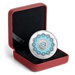 加拿大2018年曼陀罗生日石三月水晶镶嵌彩色精制银币(需预定)