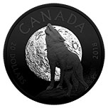 加拿大2018年夜行动物(3)月下狼嚎黑色镀铑精制银币