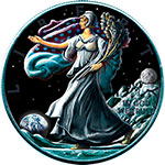 限时抢购:美国2016年1盎司行走女神鹰洋陨石镶嵌彩色银币(1)月球陨石