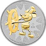 纽埃2017年迪士尼汽船威利号百变米老鼠(10)镀黄金银币(需预定)
