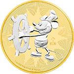 纽埃2017年迪士尼汽船威利号百变米老鼠(2)镀黄金银币(需预定)
