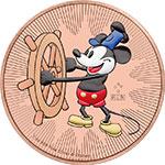 纽埃2017年迪士尼汽船威利号百变米老鼠(3)镀红金彩色银币(需预定)
