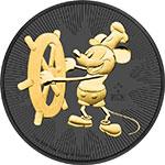 纽埃2017年迪士尼汽船威利号百变米老鼠(7)钌化镀黄金银币(需预定)