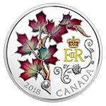 加拿大2018年英女王枫叶胸针珍珠水晶镶嵌彩色精制银币(需预定)