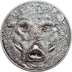 现货:蒙古2018年大自然动物施华洛世奇水晶镶嵌仿古银币(9)野猪