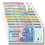 WGZB2869-B 津巴布韦10张/枚整套1-100万亿津元奇石版纸币(Zimbabwe 非洲)