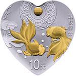 2018年吉祥文化(珠联璧合)30克心形银质纪念币